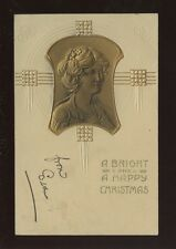 Greetings Christmas Art Nouveau style heavily embossed glamour 1906 PPC Beagles