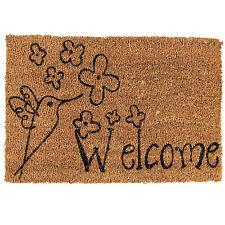 Natural Coir Welcome Bird Non Slip PVC Indoor Outdoor Entrance Floor Doormat New