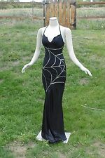 Sexy Black Elvira Spider Goth Queen Witch Women Hot Halloween Costume silver XS