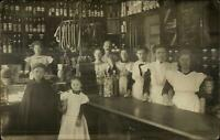 Beautiful Image Shop Store Interior Family Girls Sausages Counter c1910 RPPC
