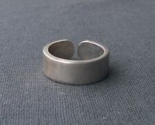 SOLID 925 STERLING SILVER OLD FLORENCE 8MM CHUNKY BAND RING SIZE Q1/2