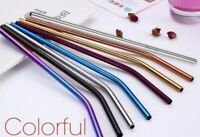 Stainless Steel Straws Reusable Metal Straw 4/8/10 pack All Colours UK Eco