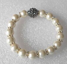 Handmade Faux Pearl and Disco Bead Bracelet