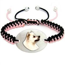 American Eskimo Dog Natural Mother Of Pearl Adjustable Knot Bracelet Chain BS267