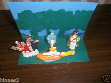 """THE BEATLES """"LEAD"""" HAND PAINTED FIGURES YELLOW SUBMARINE FIGURES AND SUBMARINE"""