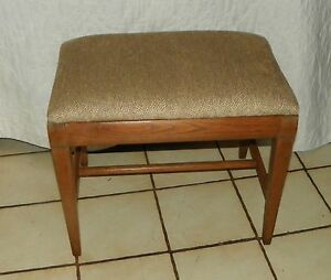 Oak Beige Print Chenille Vanity Bench  (BN162)