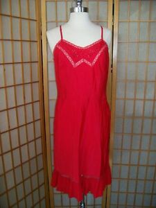 Vtg 40s 50s Side Zipper BARBIZON Tafredda FULL SLIP Sz 14 HOT RED Lacey Pleated