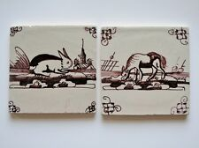2 Antique Dutch Delft tiles with a rabbit and horse  Farmyard animals