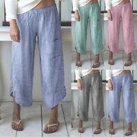 Women Wide Leg Stripe Pocket Wide Leg Pants Lady Cotton Linen Trousers Plus Size