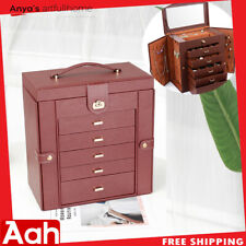 Brown Large Jewelry Box Rings Cabinet Necklace Organizer Storage 6 Layers USA