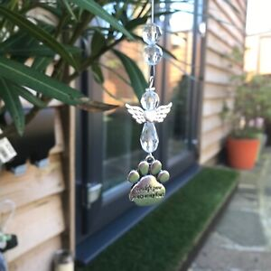 New Hanging Sun Catcher Pet Loss Memorial ~ Clear ~ Angel and Paw Charm Message