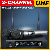 2 Channels Wireless Microphone System UHF FM Receiver Dual Handheld Mic  '&*' ☆