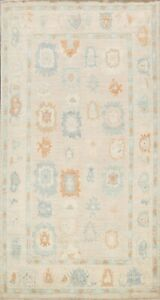 Muted Geometric Floral Vegetable Dye Oushak Turkish Hand-knotted Area Rug 5x8 ft