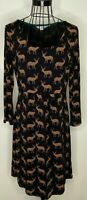 Ladies BODEN Black Brown Reindeer Stag Animal 3/4 sleeves Tunic Dress UK 12