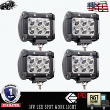 4PCS 4'' INCH 18W LED Work Light Bar Spot Lamp Pods Cube Jeep Boat Offroad