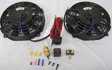 "Dual 7"" Inch Electric Radiator Cooling Fans + Thermostat Relay Kit Street Rod"