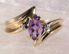 Marquise Cut Amethyst Ring Diamond Accents 10K Yellow Gold Size 6.25