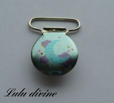 1 Pince bretelle, Attache tétine & doudou bleu, Lune bleu, Nuage violet P. 25mm