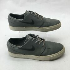 Nike Zoom Stefan Janoski Casual Sneakers Low Top Lace Up Leather Grey Mens 9.5
