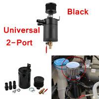 Aluminum Alloy Baffled Oil Catch Can Tube Tank 2-Port Air Filter Kit  Universal