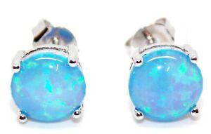 Sterling Silver Blue Fire Opal 2.28ct Stud Earrings