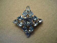 Vintage Quality Super Sparkly Icy Blue Crysta Rhinestone Maltese Coss Brooch Pin