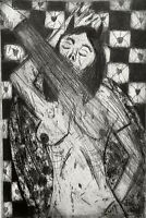 SIGNED 1999 MODERNIST NUDE FIGURE PORTRAIT STUDY ETCHING JANE'S IN THE SHOWER