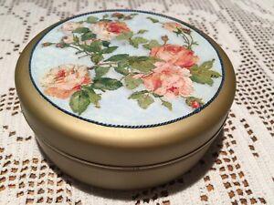 "Adorable Large French Decoupage Metal Bon-bon Tin with Pink Roses 4.7"" diameter"