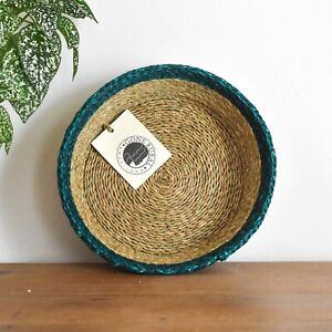 Woven Grass Bread basket, Fair trade fruit bowl Sustainable handmade table decor