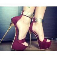 Womens Platform Peep Toe Stilettos Shoes Super High Heels Party Zip Sandal Pumps