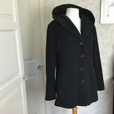 Vernissage black lined wool rich hooded jacket size16
