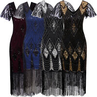 1920 Dresses Gatsby Inspired Sequin Beads Long Fringe Flapper Dress with Sleeves