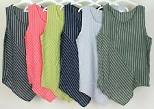 New Summer Italian Ladies Quirky Linen Sleeveless Stripe Asymetrical Vest Top