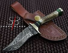 "Beautiful Handmade Damascus Steel Hunting Knife ""Stag/Antler Handle"" (3102)"