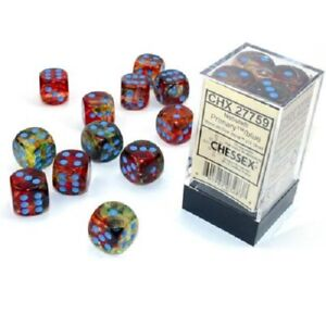Chessex Nebula Primary with Blue 12 Dice Set - 6 Sided 16mm d6 - Luminary/Glow