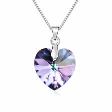 Swarovski Element Crystal Purple Heart Silver Chain Necklace Pendant Jewellery