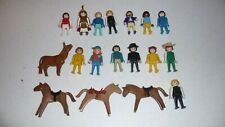 Playmobil Lot Of 17 Figures - 13 People, 3 Horses, 1 Cow