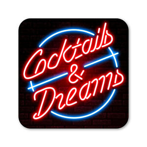 Cocktails & Dreams Eighties Neon Style Drinks Coaster Bar Pub Beer Mat 80 Cruise
