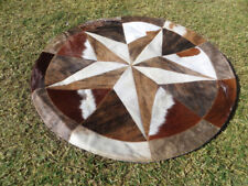 """BIG  Star Cowhide Rug Cow Hide Skin Carpet Leather Round patchwork S96 area 40"""""""
