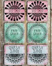 Drink Coasters Set Of 6 Non Slip Neoprene Free Spirit Gypsy Soul Wild Child