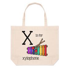 LETTERE X è per xilofono GRANDE BORSA CON MANICO da Spiaggia - Alfabeto
