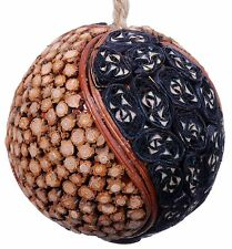 Wood Slice Mosaic Leaf Decorative Ball Ornament Natural Christmas Tree New 530f