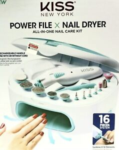 KISS Power File Nail Dryer 16pc All-in-One Care Kit Rechargeable Handle