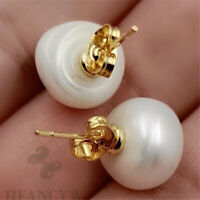 Fashion Mabe White Baroque Pearl 18K Gold Earrings Gorgeous Personality Ma Bei