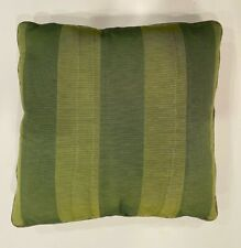 "Green Silk Striped Decorative Accent Throw Pillow 14""x14"" Square Home Decor"