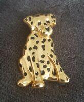 Vtg Anne Klein AK 22K Gold Plated Black Enamel Dalmatian Dog Pin Brooch doggy
