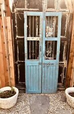 Antique Architechtural Salvage Iron Double French Doors Blue Wine Cellar