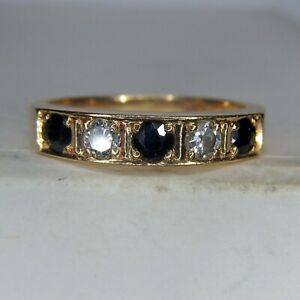 14ct GOLD SAPPHIRE & DIAMOND HALF ETERNITY RING - NICE QUALITY - Size M  ... A26