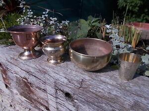 Collection 4 Vintage Brass Copper Plant Jardinieres Pots Trough Cup Ref MP/188c