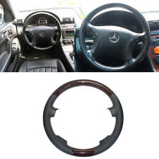 Gray Leather Wood Steering Wheel Cover Decor for 00-07 Mercedes W203 C C240 C320
